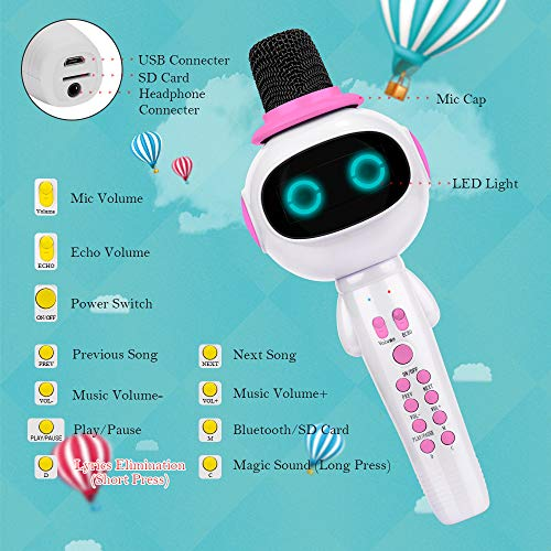 BONAOK Kids Wireless Bluetooth Karaoke Microphone with Magic Sound & Colorful LED light, 5 in 1 Portable Handheld Party Karaoke Speaker Machine Birthday Gift for Android/iPhone/iPad/PC (pink) by BONAOK (Image #3)