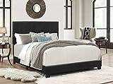 Crown Mark Upholstered Panel Bed in Black, Full