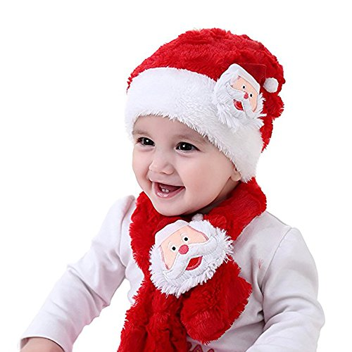 [Baby Christmas Hat Scarf Kids Santa Claus Warm Plush Hat Scarf Festival Costume By Rely2016] (Childrens Santa Costume Pattern)