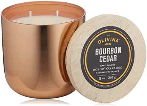 Olivina Men Soy Wax Candle Copper, Bourbon Cedar, 12 oz.