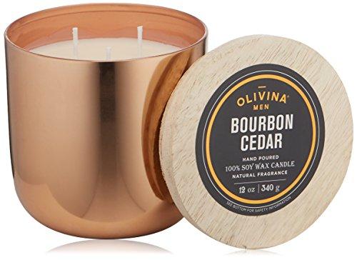 - Olivina Men Soy Wax Candle Copper, Bourbon Cedar, 12 oz.