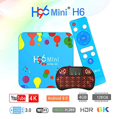 Android 9.0 TV Box Android Smart TV Box Media Player 4GB 128GB H96 Mini H6 Allwinner H6 Quad Core 6K BT 4.0 H.265 2.4G…