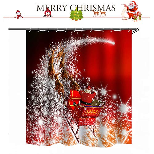 Merry Fabric Christmas (UNIKbrush Santa Claus Shower Curtain Waterproof Fabric Polyester Merry Christmas Sleigh and Reindeer Fantastic Bathroom Shower Curtain Decor with 12 Hooks 71 x 59 inch (C))