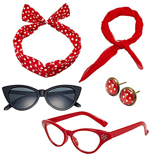 Mengar Women 1950's Costume Accessories Set Scarf, Glasses,Headband,Earrings
