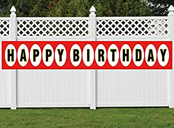 Red White Birthday Decorations Supplies Fabric Bday Party Sign Nimab Large Happy Birthday Banner