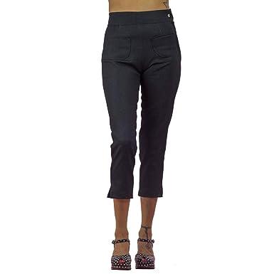 e74cd5ae97c9c8 Amazon.com  Pinky Pinups Women s Side Zipper Capri Pants Blue Denim ...