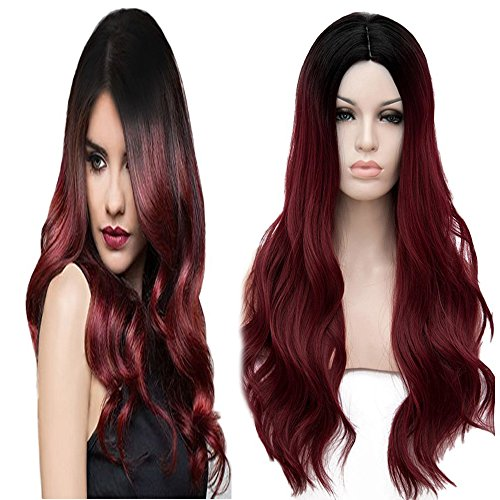 Synthetic Burgundy Middle Parting Resistant