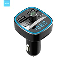 Bluetooth 5.0 car fm Transmitter microSD Card/U-Disk, USB Charger Display Screen mp3 Player car Stereo Light Effect (Black)
