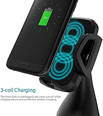 Car Charger, 10W 3 coil Qi Wireless