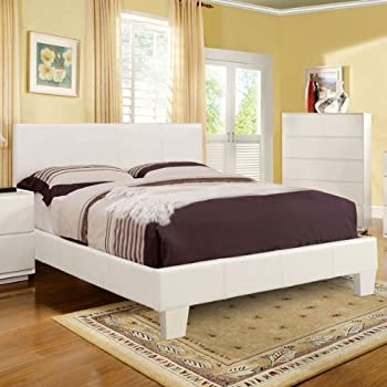 winn contemporary white leatherette queen size platform bed - Queen Bed Frame White
