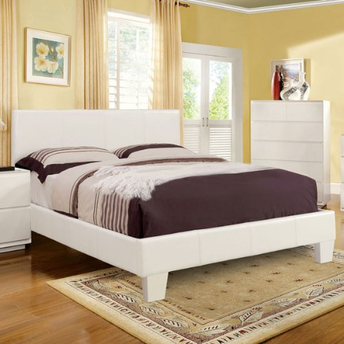 Winn Contemporary Style White Finish Leatherette Queen Size Platform Bed Frame - Queen Contemporary Platform
