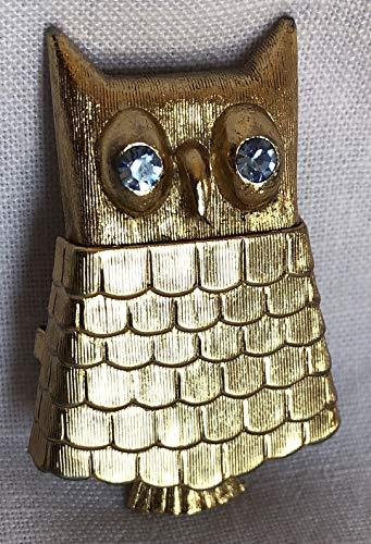 Vintage Avon Owl - Vintage Avon Goldtone Regence Solid Perfume Receptacle Owl Pin with Light Sapphire Glass Eyes