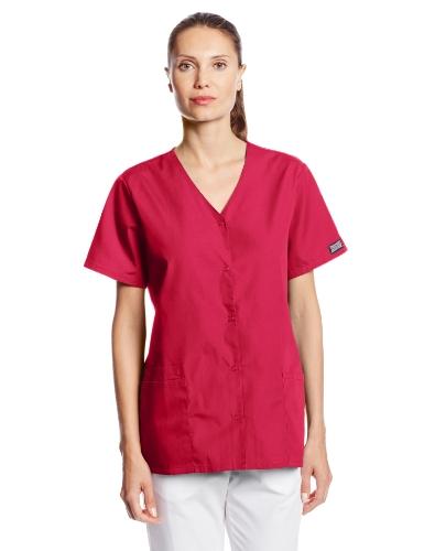 - Cherokee Women's Workwear Scrubs Snap Front V-Neck Top, Raspberry, X-Large
