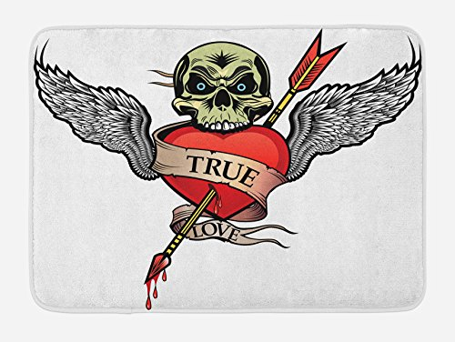 Ambesonne Tattoo Bath Mat, Angel Wings with Skull Heart Full of Blood Symbol of Real Love Valentine's, Plush Bathroom Decor Mat with Non Slip Backing, 29.5 W X 17.5 W - Tattoo Skull Wing
