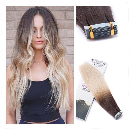 (Rinboool Skin Weft Glue In Hair Extensions Remy Human Hair, Ombre Color Medium Brown Fading To Bleach Blonde, Double Sided Invisible Seamless Tape Ins, 14'' 40g 20 pcs, 4/613)