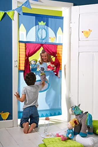 HABA 7281 Türtheater, hübsches Zubehör fürs Kasperle-und Puppentheater, schnell und leicht im Türrahmen zu fixieren