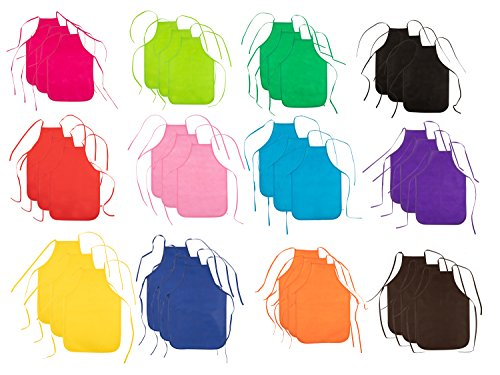 Blue Panda Kids Aprons - 36-Pack Children Artist Aprons Painting, Baking, Cooking Activity, Classroom Kitchen, Non-Woven, 12 Colors, 12.8 x 18.7 inches