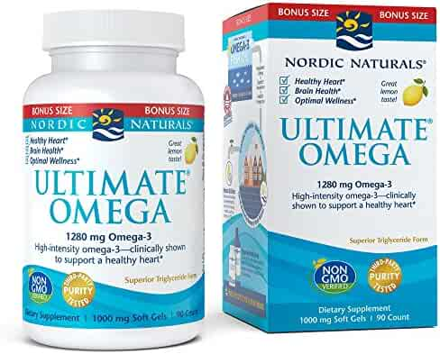 Nordic Naturals Ultimate Omega SoftGels - Concentrated Omega-3 Burpless Fish Oil Supplement with More DHA & EPA, Supports Heart Health, Brain Development and Overall Wellness*, Lemon Flavor, 90 Count