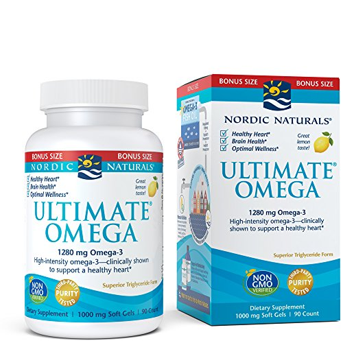 Nordic Naturals Ultimate Omega SoftGels - Concentrated Omega-3 Burpless Fish Oil Supplement with More DHA & EPA, Supports Heart Health, Brain Development and Overall Wellness, Lemon Flavor, 90 Count