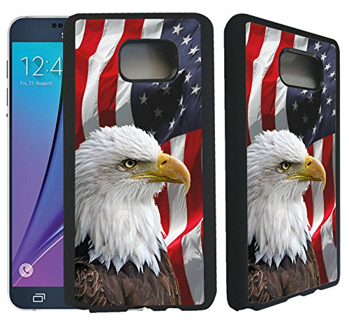 [TeleSkins] - Samsung Galaxy Note 5 Rubber TPU Case -Bald Eagle American Flag - Ultra Durable Slim Fit, Protective Plastic with Soft RUBBER TPU Snap On Back Case / Cover.