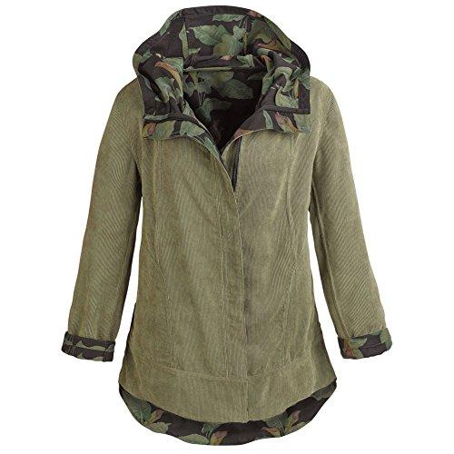 (Women's Army Green Reversible Corduroy Hooded Jacket - Large)