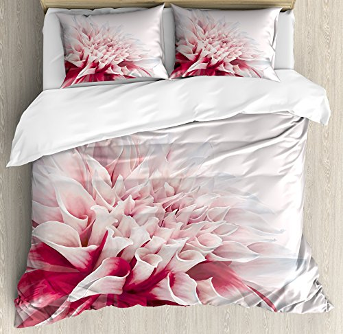 - Ambesonne Dahlia Duvet Cover Set, Close up Dahlia Blossom with Red and White Petals Single Large Flower, Decorative 3 Piece Bedding Set with 2 Pillow Shams, Queen Size, White Ivory
