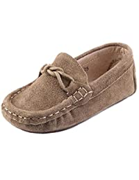 PPXID Little Boy's Girl's Suede Leather Slip-On Moccasins Soft Boat Shoes