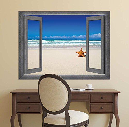 Open Window Creative Wall Decor View of the Ocean and a Lone Starfish Wall Mural