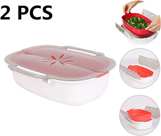 Vaporera para microondas, Olla de Vapor para Arroz,Microwave Cooker Steamer,con Tapa de ventilación Ajustable,Saludable Cocina,Apta para lavavajillas(2 pcs): Amazon.es: Hogar