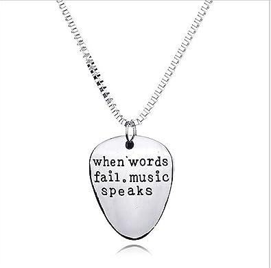 feioula Collar de púa de Guitarra con Texto en inglés «When Words Fail Music Speaks» Grabado a Mano: Amazon.es: Joyería