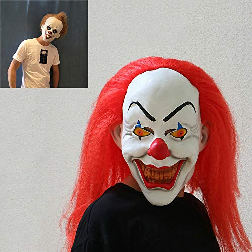 Stephen King's It Mask Pennywise Horror Clown Joker Mask Clown Mask Halloween Cosplay Costume Props with Wig Hair (Red)