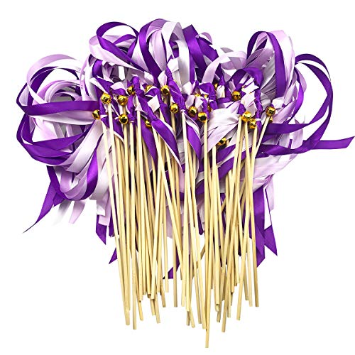 Cieovo Pack of 50 Wedding Christmas Birthday Party Silk Ribbon Sticks Streamers with Bells Fairy Stick Wands Dark Purple&Purple]()