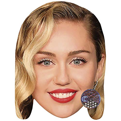 Miley Cyrus (Red Lipstick) Celebrity Mask, Card Face and Fancy Dress - Miley Proof Cyrus