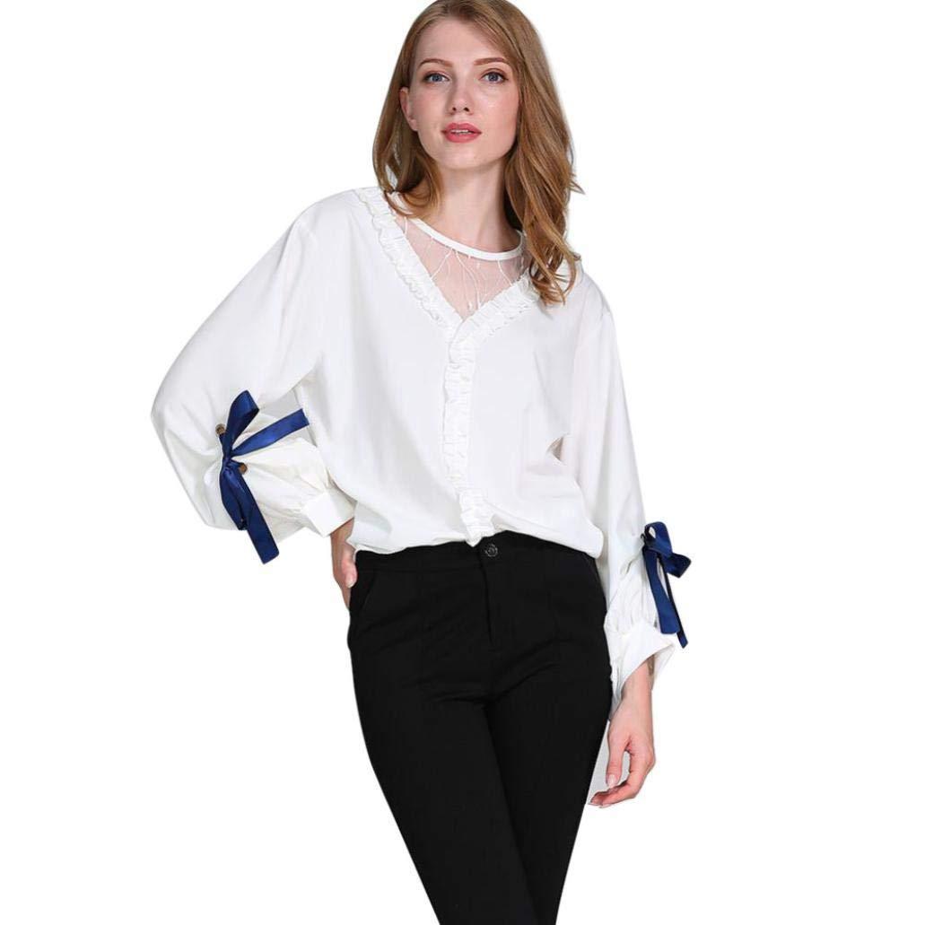 Gyoume Teen School Blouse Women Girls Mesh Tops Lantern Sleeve Blouse Ladies Casual T Shirts