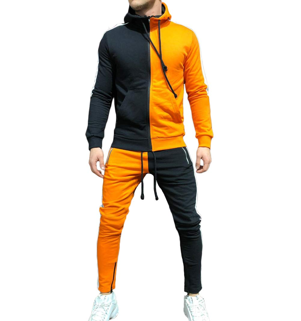 Men's Tracksuit Set Camouflage Sweatshirt Jogger Sweatpants Solid Patchwork Warm Sports Suit (Patchwork-Orange, XL) by lisenraIn