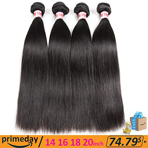 Hermosa Brazilian Straight Hair 4 Bundles 14 16 18 20inch 7A Unprocessed Virgin Brazilian Straight Human Hair Weave Bundles Natural Black Color