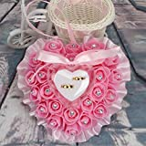 bgblgf M Lace Heart Shape With Rose and Bow Ring Box Pillow for Wedding, Pink, 1716cm