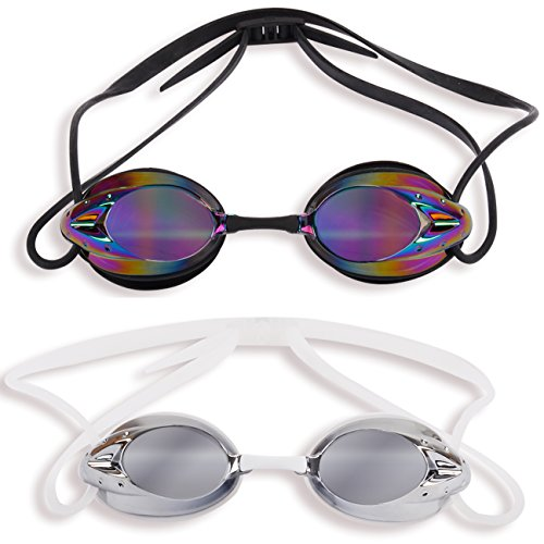 The Friendly Swede 2 Pack Swim Goggles for Adults with Interchangeable Nose Pieces and Protective Cases, Mirrored (Black + White)