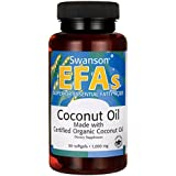 Swanson EFAs Coconut Oil 1000mg, 60 Softgels - Virgin coconut oil supplement - Beneficial source of fatty acids