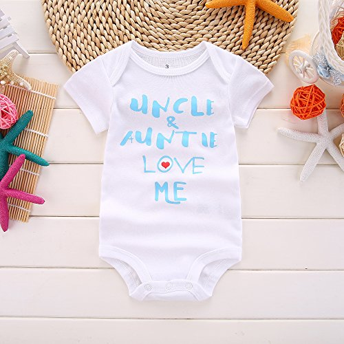Winzik Newborn Baby Boys Girls Outfits Uncle Auntie Love Me Letters Print Baby Onesie Romper Jumpsuit T-Shirt (0-3 Months, White Blue) by Winzik (Image #1)'