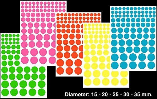 p44、circle-3ラベル、5サイズ(∅ 15 – 20 – 25 – 30 – 35 mm。)、パステルカラー用紙、a4 (21