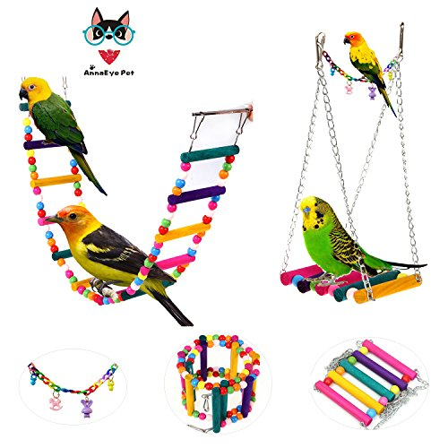 AnnaEye Pet Bird Parrot Parakeet Budgie Cockatiel Cage Hammock Swing Toy Hanging Toy Swings Set,Ladders for Pet Trainning 3pcs by AnnaEye