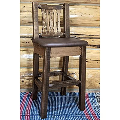 Montana Woodworks Saddle Pattern Barstool with Back Upholstered Seat, Stain and Clear Lacquer Finish