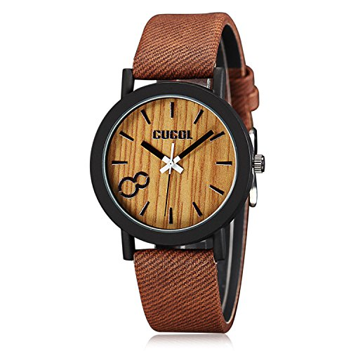 Brown Synthetic Leather Band (CUCOL Eco Faux Wooden Dial Watches for Men and Women Leather Band Casual Design Brown)