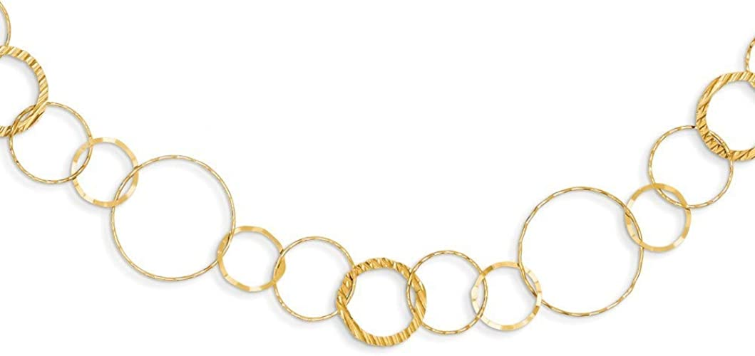 """16/"""" 14K Yellow Gold Polished Faceted Carded Pendant Rope Chain Spring Clasp"""