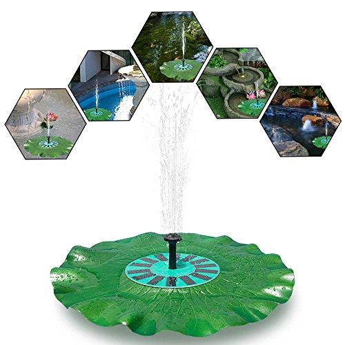 Keynice schwimmende Solar Springbrunnen Pumpe mit monokristallinem 7V 1,4W Solar Panel für Gartenteiche, Brunnen, Swimmingpools als Dekoration schwimmend mit schönem Lotusblatt …