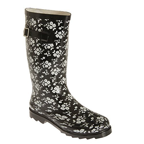 Black Universal Womens Wellington Boots White Ladies Floral Contrast Textiles r0rUf