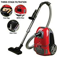 Ovente Canister Vacuum with Tri-Level Filtration ST1600 Series:Dust Bag, Outlet HEPA Filter, and Inlet Filter, 1400W, Energy-Saving Variable Suction, 1.5M Crush-Proof Hose, Automatic Cable Rewind,Red