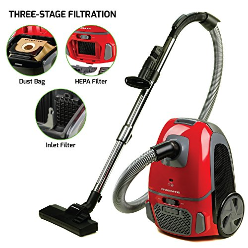 Series Hepa Filtration - Ovente Canister Vacuum with Tri-Level Filtration ST1600 Series:Dust Bag, Outlet HEPA Filter, and Inlet Filter, 1400W, Energy-Saving Variable Suction, 1.5M Crush-Proof Hose, Automatic Cable Rewind,Red