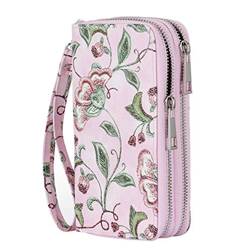 HAWEE Cellphone Wallet Dual Zipper Wristlet Purse with Credit Card Case/Coin Pouch/Smart Phone Pocket Soft Leather for Women or Lady, Morning Glory-Pink